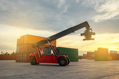 Business Logistic forklift truck shipping containers cargo in po Stock Images