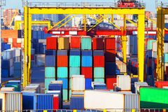 Business and logistics. Cargo transportation and storage. Equipment containers. Royalty Free Stock Photos