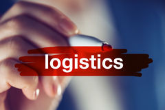 Business logistics concept. Female manager highlighting the term Stock Photography
