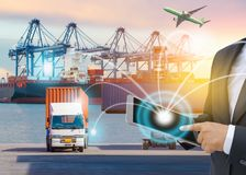 Business Logistics concept, Global business connection technology interface global partner connection of container cargo. Freight ship for Logistic import stock photography