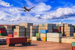 Business Logistics concept, Logistics and transportation of Cont. Ainer Cargo ship and Cargo plane logistic import export and transport industry background Stock Image