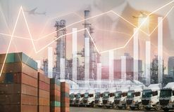 Business logistics shipping, industrial multiple exposure project background. royalty free stock photo