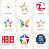 Business Logo Collection with stars, cross, heart, letters and b Royalty Free Stock Image