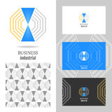 Business logo for the company. Vector polygon element for editing. Business card with logo for corporate, media, technology Stock Images