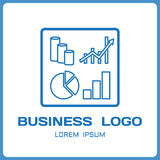 Business logo from financial charts and indicators. Elements of infographics in linear simplified style. Vector. Illustration Royalty Free Stock Photography