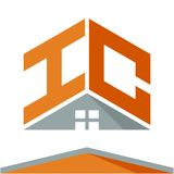 Icon logo for construction business with the concept of roofs and combinations of letters H & C. Business logo icon for business development of construction stock illustration