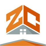 Icon logo for construction business with the concept of roofs and combinations of letters Z & C. Business logo icon for business development of construction Royalty Free Stock Photo