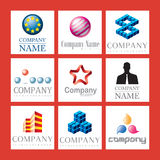 Business logos. Illustrated block of nine different proposed business logos, isolated on a white background Stock Image