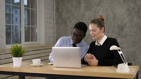 Business long distance video call, businessman and businesswoman talking to someone and taking notes. Professional shot in 4K resolution. 012. You can use it e stock footage