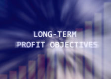 Business Long Term Profit Objectives Illustration. Setting a long term strategy and goals for your businesses Stock Image