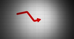 Business loss due to covid. Animated growth down arrow. Business graph showing growth down. business loss concept 4k video.