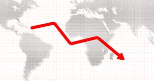 Business loss due to covid. growth down arrow. Business graph showing growth down. business loss concept 4k video