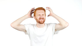 Business Loss, Failure, Sad Disappointed Young Red Hair Man Royalty Free Stock Photos