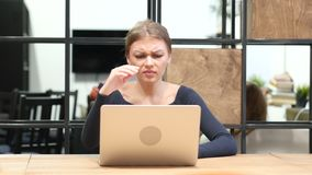 Business Loss for Girl Working on Laptop, Front View stock footage