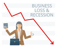 Business loss and recession flat vector concept illustration. Businesswoman is holding a coin in one hand and calculator in another. Woman with briefcase Royalty Free Stock Photography
