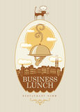 Business lunch. Banner with a business lunch on the background of the urban landscape Stock Images