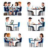 Business lunch break. Food and meeting, people colleague sitting, vector illustration vector illustration