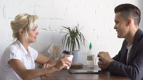 Business lunch in a cafe. The meeting of two business.  stock video footage