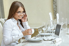 Business lunch. Charming woman working at dinner Royalty Free Stock Photo