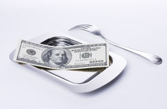 Business Lunch Concept. Currency lunch for businessman on isolated background Royalty Free Stock Photos