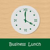 Business lunch concept. A plate with a clock face, knife and fork in shape of clock hands. There is also the text `Business Lunch` in the picture. Vector Royalty Free Illustration