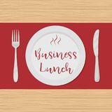 Business lunch concept. Plate with the red text `Business Lunch` on a wooden background. There is also a fork and a knife in the picture. Vector illustration Stock Illustration