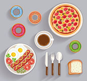 Business lunch, dinner table - top view Royalty Free Stock Image