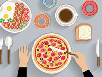 Business lunch, dinner table - top view Royalty Free Stock Photo