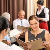 Business lunch executives order meal restaurant Stock Images