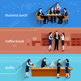 Business lunch flat banners set. Business lunch coffee break and buffet service at work flat horizontal banners set abstract  vector illustration Stock Image