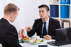 Business lunch in the office Royalty Free Stock Images