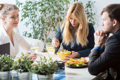 Business lunch in the office Royalty Free Stock Photography