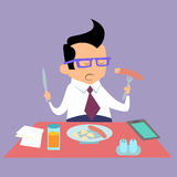Business lunch office worker. Businessman eats fast food royalty free illustration