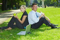 Business lunch outdoor Stock Images