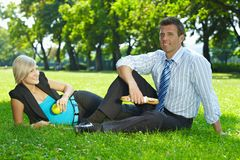 Business lunch outdoor in park Stock Image