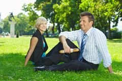 Business lunch outdoor in park Stock Photos