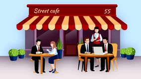 Business lunch outdoors video footage stock footage