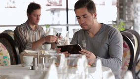 Business lunch in a restaurant stock video footage