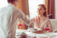 Business lunch at restaurant Stock Image