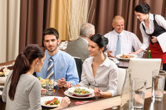 Business lunch restaurant people eating meal stock photos