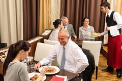 Business lunch restaurant people eating meal Stock Image