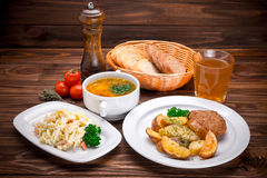 Business lunch with soup, salad and juice Royalty Free Stock Image