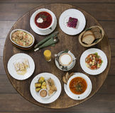 Business lunch on a vintage round table.Friday Stock Photo