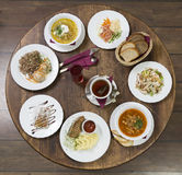 Business lunch on a vintage round table.Thursday Stock Image