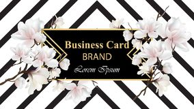 Business Luxury card Vector. Modern Abstract design with floral decor. Place for texts. Business Luxury card Vector. Modern Abstract design with magnolia floral royalty free illustration