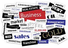 Business Magazines pieces. Business tag cloud made of scattered labels isolated on white background Stock Images