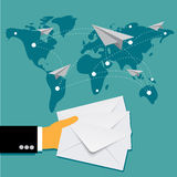 Business mail delivery concept in flat design, vector. Mail communication concept in flat style Stock Photo