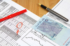 Business Malaysia. Business composition. Financial analysis - income statement, finance charts, Malaysian money (1 ringgit bill), red marker and ink pen
