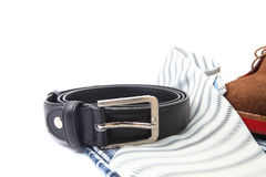 Business or Male accessories. Belt, shoes, shirt and Tie isolated on white Royalty Free Stock Photography