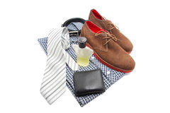 Business or Male accessories. Belt, shoes, wallet, cologne , shirt and Tie isolated on white Royalty Free Stock Image
